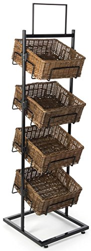 Displays2go Wicker Basket Stand with 4 Tiers, Wicker & Steel Construction, Floor Standing – Natural & Black (M4BSKD66) (Tiered Basket Floor Stand)