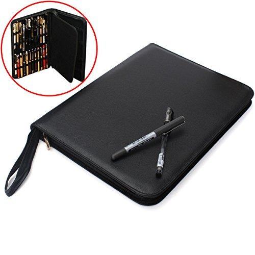 (Fountain Pen Case Black Large PU Leather Pen Case for 48 Pen)