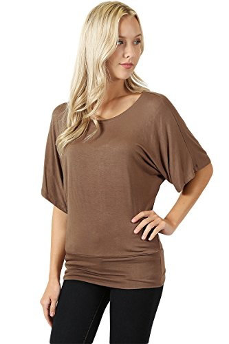 Detail Kimono (The Classic Womens Short Sleeve Boat Neck Kimono Banded Bottom Detail Dolman Top in Mocha - Large)