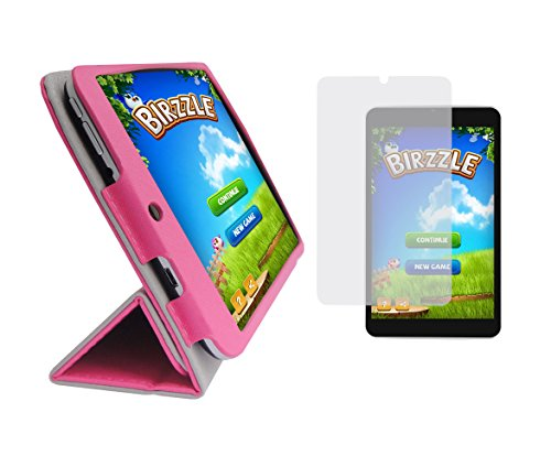 iShoppingdeals - Tulip Pink Folding Folio Cover Case and Clear Screen Protector for Digital2 8