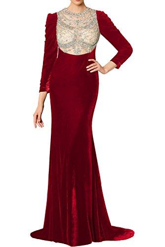 Langarm Vintage Rundkragen Ivydressing Tuell Abendkleider Partykleider Elegant Ballkleider Rot Perlen Lang Samt Damen Promkleider xE6qq0YwS