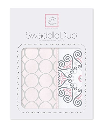 SwaddleDesigns SwaddleDuo, Set of 2 Swaddling Blankets, Cotton Muslin + Premium Cotton Flannel, Pink Mod Medallion Duo Count Flannel Receiving Blankets