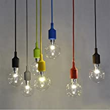 DIY Colour Lamp Base Bulb Socket Holder Hanging Pendant Light Base E27 Bulb Light Screw Base Room Decoration Coffee