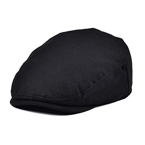 (JANGOUL Baby Boy's Cotton Hat Driver Page Boy Cap Fully Lined Newsboy Cap Black)