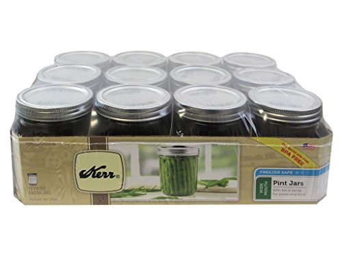 Kerr 0518 wide mouth mason jar pint, 16oz(case of 12) (Jar Kerr)