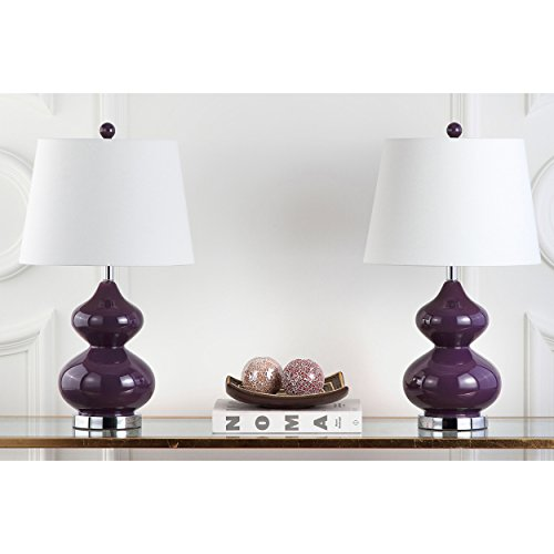 Safavieh Lighting Collection Eva Double Gourd Glass Table Lamp, Dark Purple, Set of 2