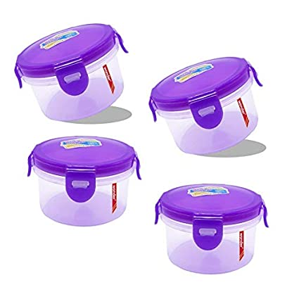 Wonder klick N Seal Round Container Set with Air Tight Locking Lid, Set of 4, 250 ML, Purple Color, Made in India, KBS00464