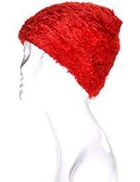 Accessory Necessary LL Girls Multicolor Soft Magic Stretch Warm Lined Winter Knit Hat- Many Colors (Solid Red)