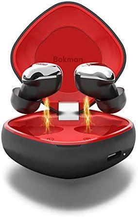 bokman Auriculares Bluetooth, O4 Auriculares Inalámbricos Bluetooth 5.0 IPX7 Impermeable HiFi Mini Twins Estéreo con Caja de Carga Inalámbrica y Mic para iPhone y Android (Negro y Rojo): Amazon.es: Electrónica