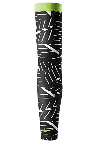 Nike Bash Pro Arm Running, Training Sleeves for Men and Women (1 Pair, M/L, Black/Volt)