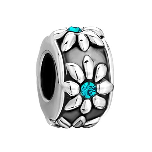 ap Flower Blue Birthstone Crystal Charm Beads Fits Pandora Jewelry Bracelet Gifts (Pugster Fashion Bracelets)