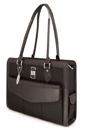 Geneva Notebook Tote - Mobile Edge Women's Black w/Black Leather Trim, Geneva 15.4 Inch Business Laptop Tote, Superior SafetyCell Computer Protection Compartment, Business, Travel, Students MEGNOS