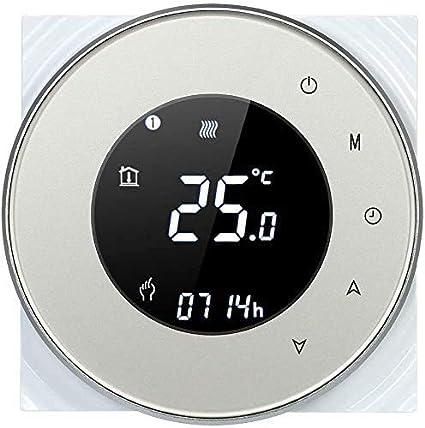 Termostato WiFi para caldera de gas, termostato inteligente para caldera de gas, pantalla LCD (VApantalla), Touch Button retroiluminado, programable con Alexa Google Home y teléfono APP (Oro)