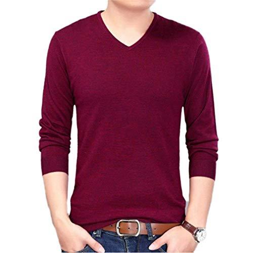Longues Sweat Manches Hommes Couleur Mode De En Casual À Pull Tricoté V shirt Unie Tops Winered Col nHzt11xFq