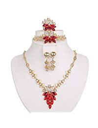 Moochi 5PC Gold Plated Jewelry Sets Red Flower Leaf Necklace Jewelry Set