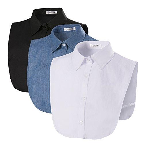 ANZERMIX Women's Peterpan Detachable Fake Collars Half Shirt Blouse Dickie Pack of ()