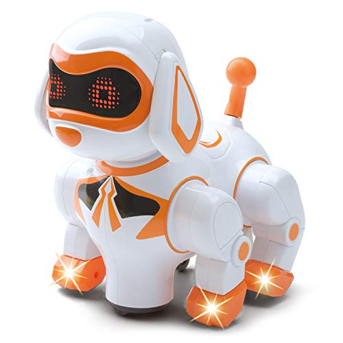 B/O Walking and Dancing Pet Robot Dog - Mechanical Dog Toy for Children, Supports Imaginative Play - Interactive Pet Robot Walks, Dances, Moves, Plays Sound Effects, Lights Up - Children Age 3+ Years
