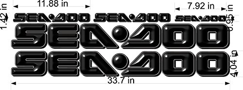 SEA-DOO-BLACK -3D-LOGO-4x34-DECAL-SET-GRAPHIC-STICKER-PACKAGE, REPLACEMENT (Decal Replacement Set)