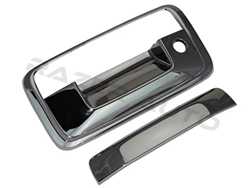 - Razer Auto Black Chrome Tailgate Handle Cover with Keyhole and without Camera Hole for 14-15 Chevy Silverado 1500/14-15 GMC Sierra 1500