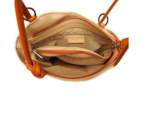 Florence Leather 207 - Bolso mochila  para mujer negro, Negro Y Marrón (multicolor) - 207 Beige & Tan