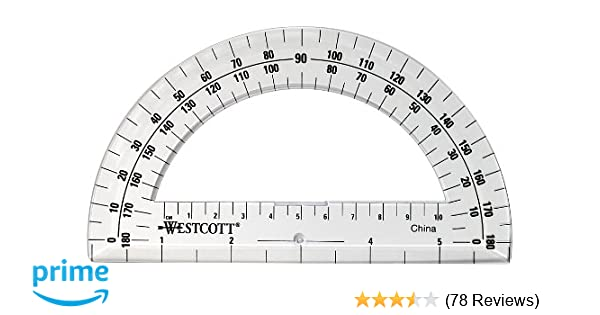 photo about 360 Degree Protractor Printable titled Westcott 6-Inch Plastic 180 Diploma Protractor, Obvious