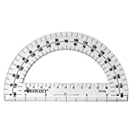 Westcott 6-Inch Plastic 180 Degree Protractor, Clear