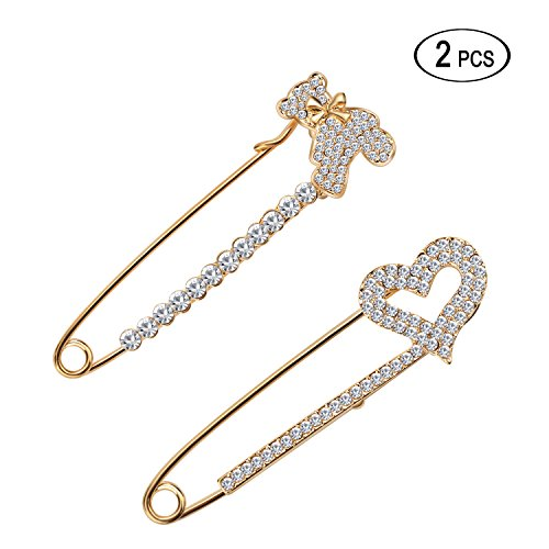 Rhinestone Fish Pin (Women's Safety Scarf Pin Brooch Rhinestone Sweater Hat Crystal Breastpin with Swan&Fox&Fish&Crown Design by Tagoo (2pcs (bear+gold heart)))