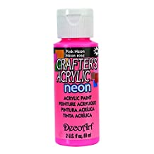DecoArt DCA128-3 Crafter's Acrylic Paint, 2-Ounce, Pink Neon