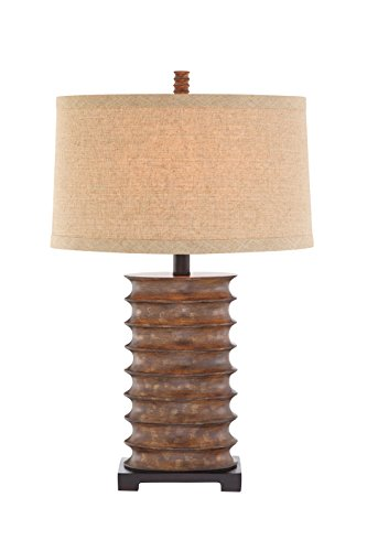Spiral Resin Table Lamp - Catalina 19093-000 3-Way 30-Inch Rustic Bronze Table Lamp with Textured Linen Modified Drum Shade