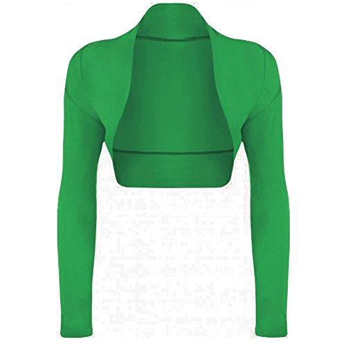 Janisramone donne Le signore Nuovo pianura Aperto davanti Lungo Manica bolero shrug cropped cardigan Mini Camicetta cima Giada Verde