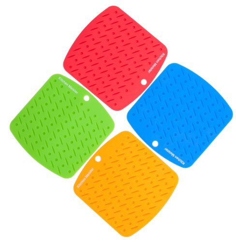 KitchenMeister ,Silicone Pot Holders, Trivet Mat, Non-slip Hot Pads, and Garlic Peeler, Set of 4, Asst Colors,with 1 Silicone Earphone Winder (Ear phone not included)