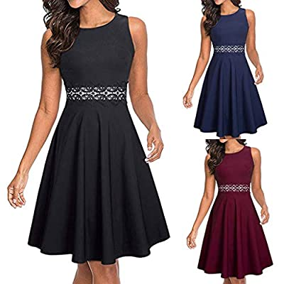 Dresses for Womens,DaySeventh Women's Sleeveless Cocktail A-Line Embroidery Party Summer Wedding Guest Dress