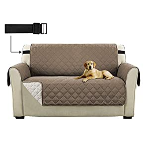 Sofa Slipcover 2 Seater Reversible Furniture Protector Covers, Water Resistant Loveseat Sofa Cover with Adjustable…
