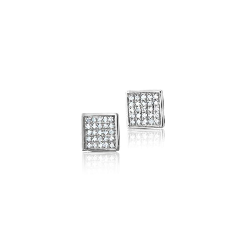 10k White Gold Square Diamond Earrings Studs   HI, I, 0.30
