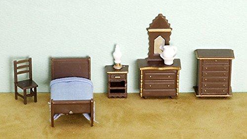 Dollhouse Miniature 1/4 Inch Scale Bedroom Set