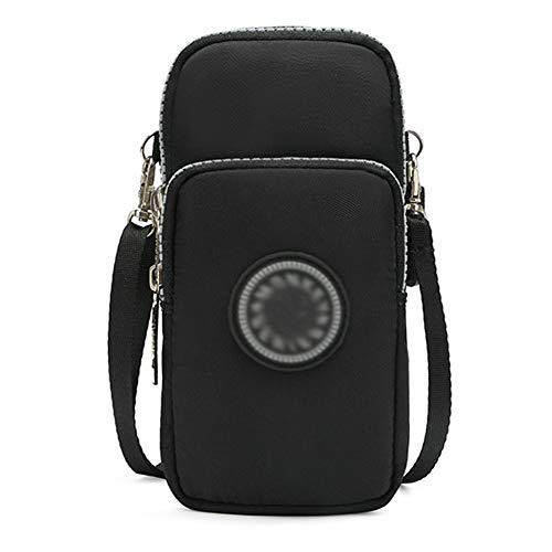 Wristlet Running 3 Crossbody Zipper Purse Black Cellphone Nylon Bag A Layers Style Armband Pouch Babyprice xX4pnq0wap