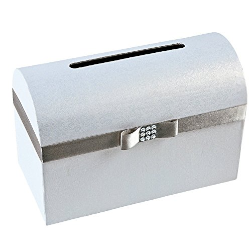 Wedding Card Box Silver Bow