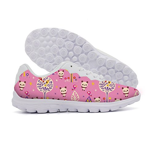 rttyl et67u67 Fashion Attractive Women Pink Panda Bears And Birds In Forest Outdoor Athletic Shoes