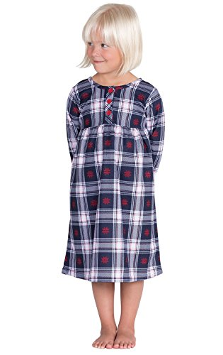 PajamaGram Classic Snowfall Plaid Cotton Flannel Nightgown,