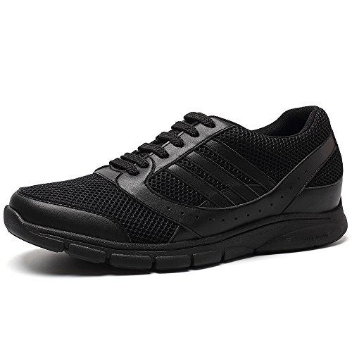 CHAMARIPA Scarpe da Basket con Rialzo Uomo Pelle Sneaker Fino a 7 cm H52C11K013D Nero(griglia)