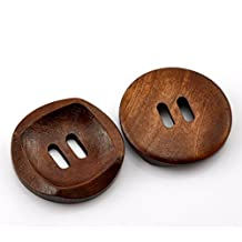 "HOUSWEETY 50PCs Coffee 2 Holes Round Wood Sewing Buttons 30mm(1 1/8"") Dia."