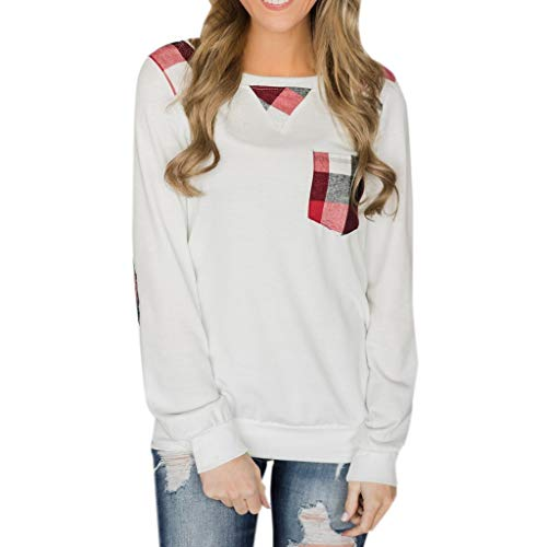 iDWZA Fashion Women Casual Pocket Splice Loose Long Sleeve Round Neck T-shirt Tops -