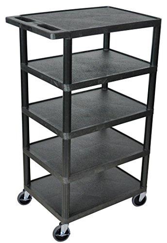LUXOR BC50-B Flat Top Shelf Banquet Utility Cart, 5 Shelves, 24