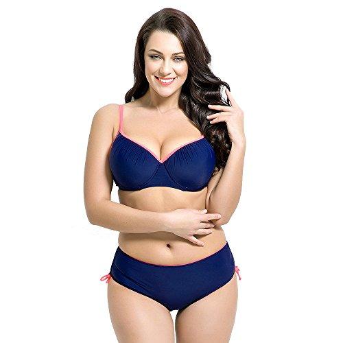 Runbox Women's Plus Size Pleated Push up Two-piece Swimsuit Swimwear Bikini Set (XL(US16-18), Navy Blue)