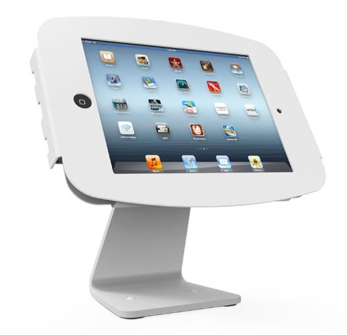 Maclocks 303W224SENW All-In-One Space Enclosure Kiosk With 360-Degree Rotation for iPad 2/3/4 iPad Air iPad Air 2 (White) by Compulocks