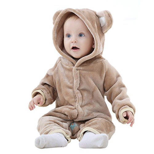 IDGIRL Baby Girls Boys' bear style Jumpsuit spring & Autumn Romper Clothing(70CM(0-3months), brown) (Baby Girl Monkey Costume)