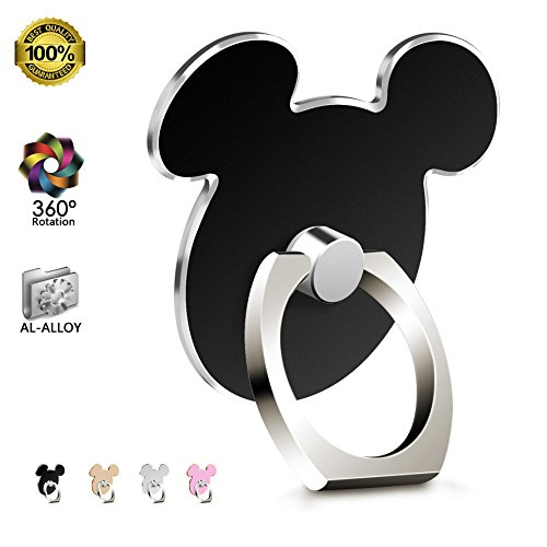 Cartoon Phone Ring Holder (BLACK) Metal AL-Alloy 360 Rotation Cell Phone Grip for Apple iPhone x/8/7/6/6s Samsung Galaxy Note S8/S6 Tablet and iPad by (Disney Stand)