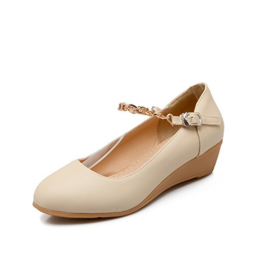 BalaMasa da donna catena di metallo a punta rotonda morbido materiale pumps-shoes, Beige (Beige), 35