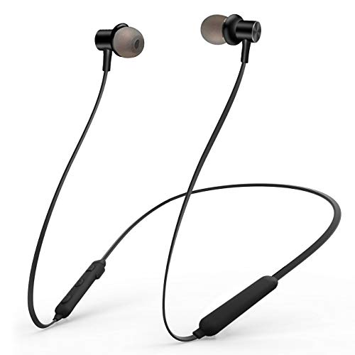 Bluetooth Headphones, Wireless Earbuds 4.2 Magnetic Bluetooth Earphones Lightweight & Sweat-Proof Earbuds with Mic, in-Ear Earphones Sports Compatible with iPhone and Android Phones (Black)