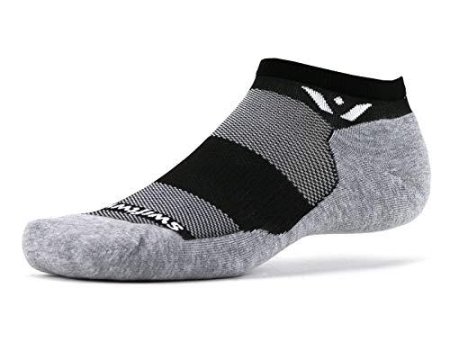 (Swiftwick - MAXUS ZERO | Socks Built for Running & Golf | Plush Cushion, ALL DAY Comfort No Show Socks | Black, Medium)